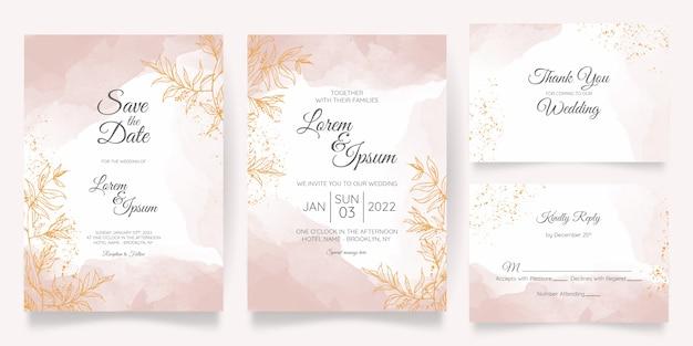 Szablon Karty Zaproszenie Na ślub Pastelowe Akwarela Ze Złotą Dekoracją Kwiatową Premium Wektorów