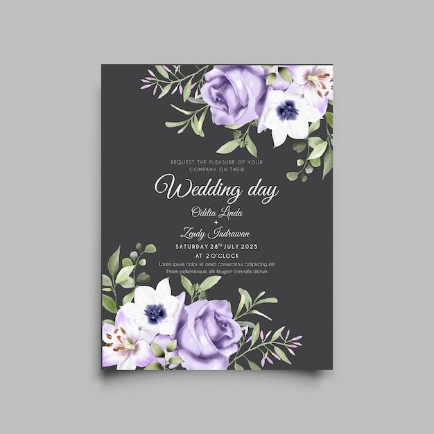 Szablon Karty Zaproszenie Na ślub Piękny Fioletowy Kwiat Premium Wektorów