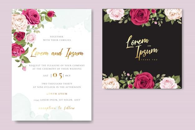 Szablon karty zaproszenie na ślub z piękne różowe róże Premium Wektorów