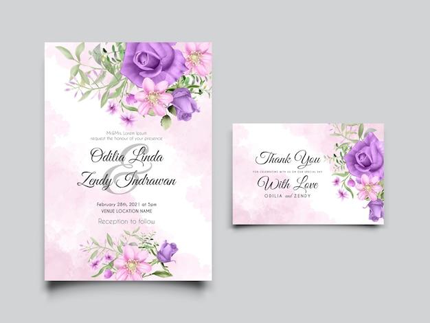 Szablon Karty Zaproszenie Na ślub Z Ręcznie Rysowane Różowe I Fioletowe Róże Premium Wektorów