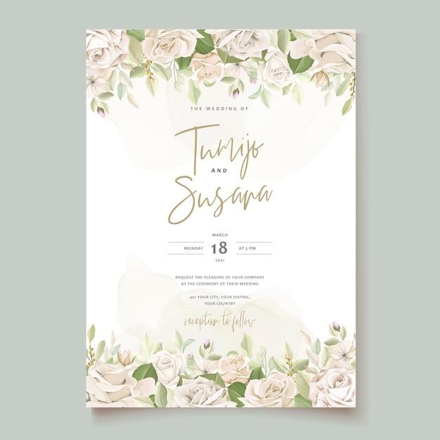 Szablon Karty Zaproszenie Piękne Róże Darmowych Wektorów