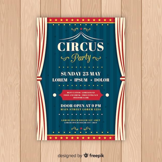 Szablon karty zaproszenie rocznika cyrk party Darmowych Wektorów