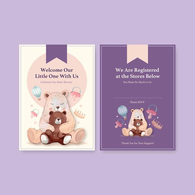 Szablon Karty Zaproszenie Z Baby Shower Koncepcji Projektu Ilustracji Wektorowych Akwarela. Darmowych Wektorów
