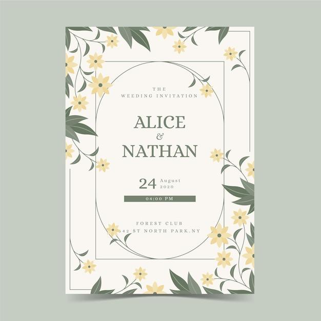 Szablon Karty Zaręczynowej Z Kwiatowymi Ornamentami Darmowych Wektorów
