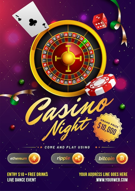 Szablon kasyna noc lub projekt ulotki Premium Wektorów