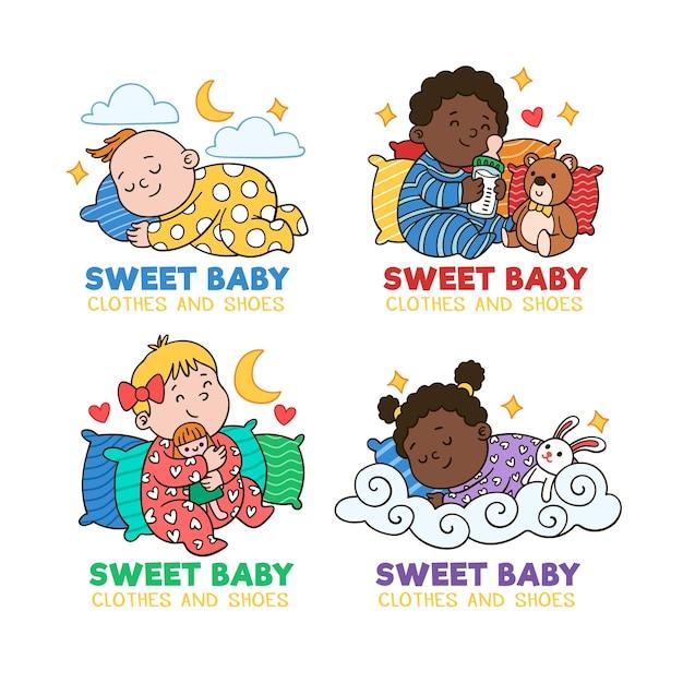 Szablon Kolekcji Logo Dziecka Darmowych Wektorów