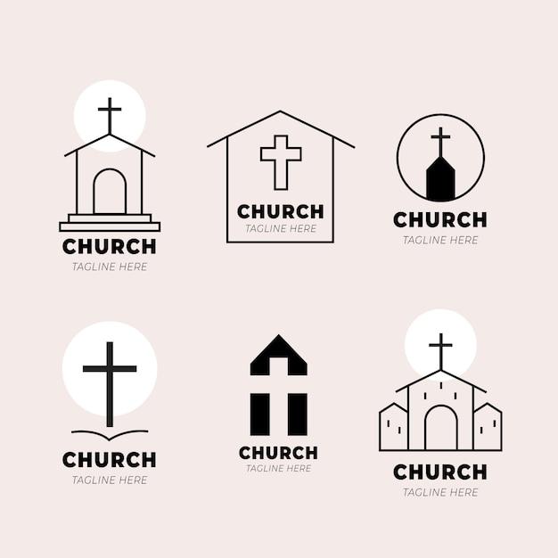 Szablon Kolekcji Logo Kościoła Darmowych Wektorów