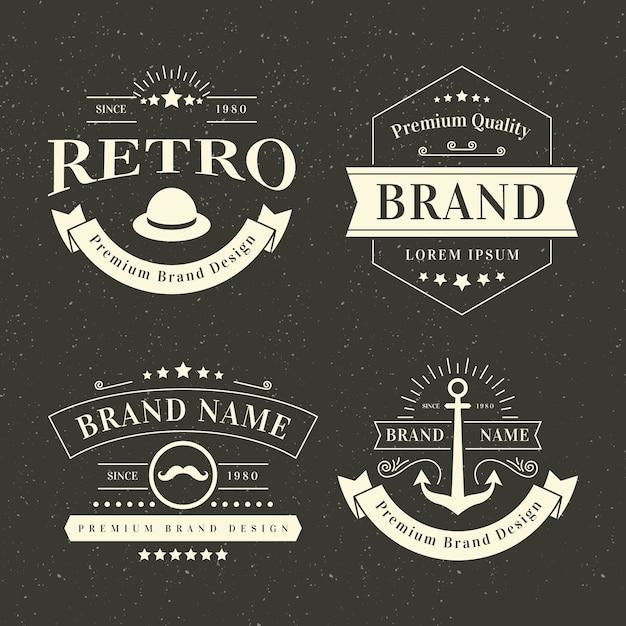 Szablon Kolekcji Logo Retro Darmowych Wektorów