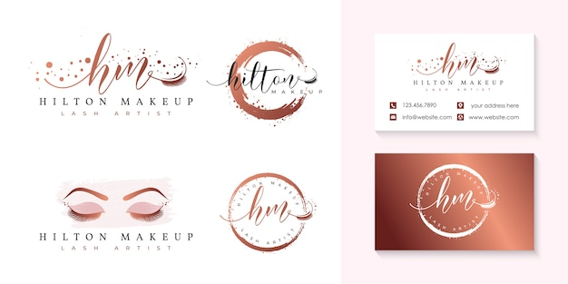 Szablon kolekcji logo rzęs Premium Wektorów