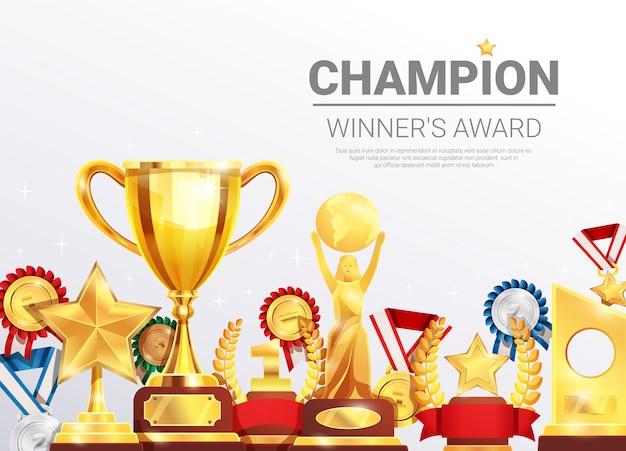 Szablon Kolekcji Nagrody Zwycięzców Mistrzostw Darmowych Wektorów