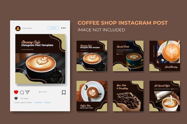 Szablon Kolekcji Postów W Mediach Społecznościowych Dla Kawiarni Premium Wektorów
