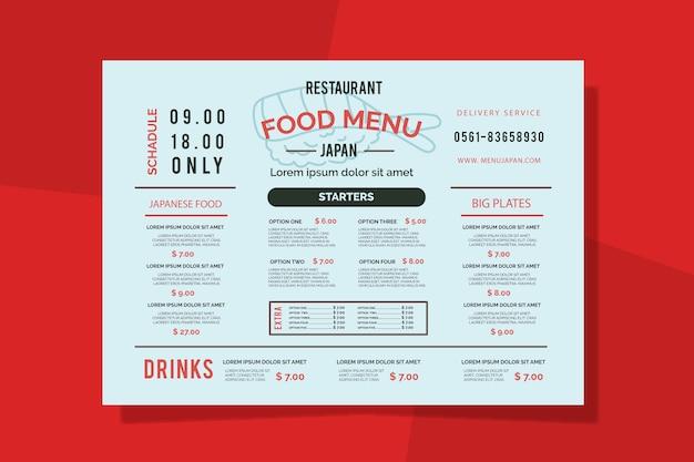 Szablon kolorowe menu restauracji Darmowych Wektorów