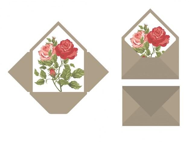Szablon koperty zaproszenia ślubne Premium Wektorów