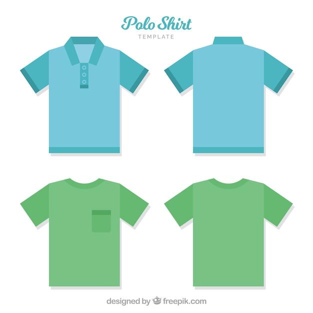 Szablon Koszulki Polo Z Butelkami I Kieszonką Darmowych Wektorów