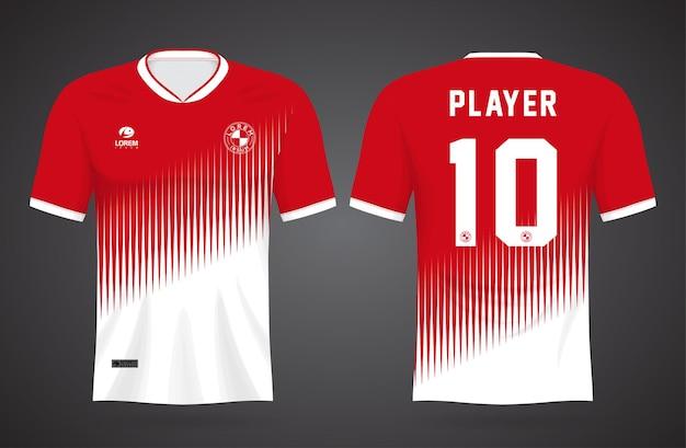Szablon Koszulki Sportowej W Kolorze Czerwonym I Białym Do Strojów Drużynowych I Koszulki Piłkarskiej Premium Wektorów