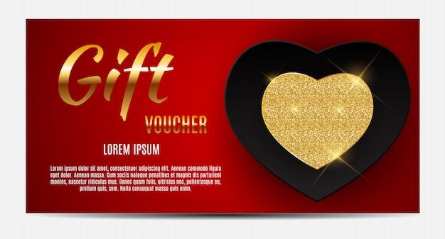 Szablon Kuponu Upominkowego Dla Twojej Firmy. Serce Walentynki Premium Wektorów