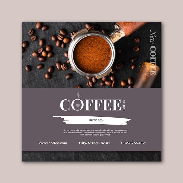 Szablon Kwadratowy Ulotki Kawy Darmowych Wektorów