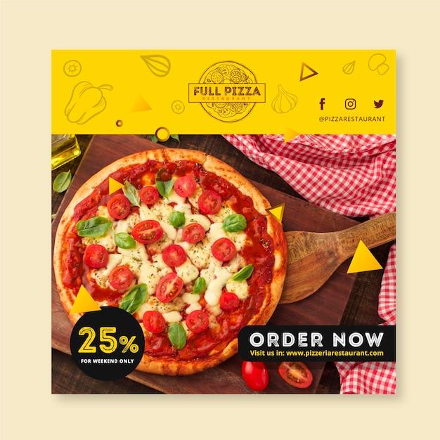 Szablon Kwadratu Ulotki Dla Restauracji Pizzy Darmowych Wektorów