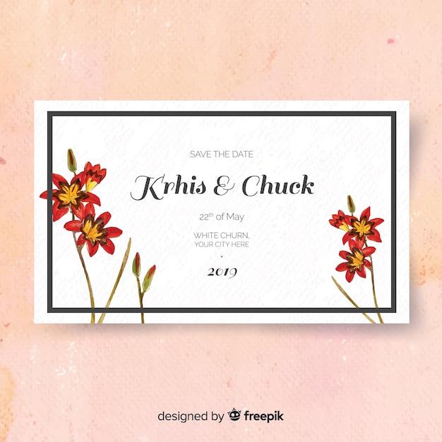 Szablon kwiatowy ślub karty Darmowych Wektorów