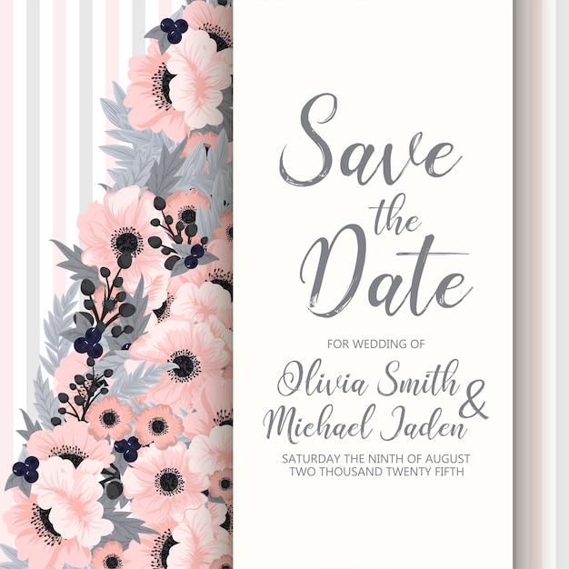 Szablon Kwiatowy ślub - Różowa Karta Kwiatowy Darmowych Wektorów