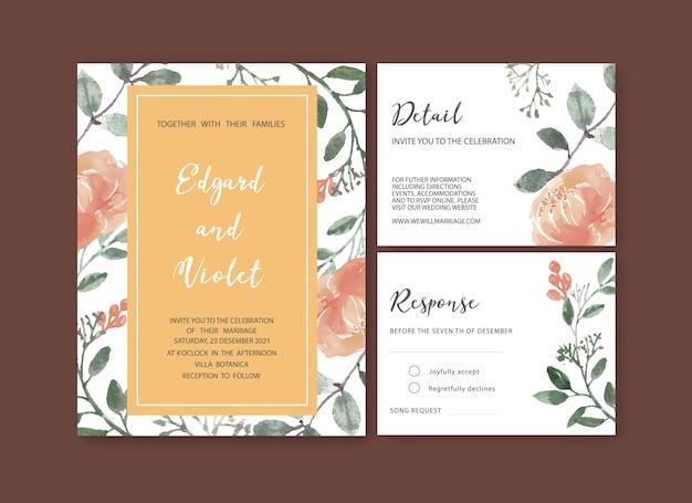 Szablon kwiatowy wesele akwarela Darmowych Wektorów