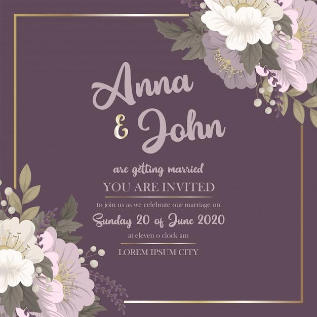 Szablon kwiatowy wesele różowy karta kwiatowy Darmowych Wektorów