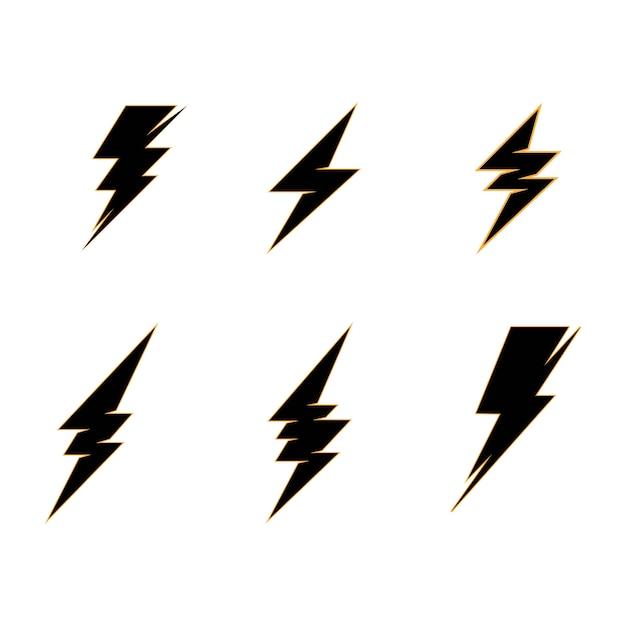 Szablon Logo Błyskawicy Energii Elektrycznej Piorun Premium Wektorów