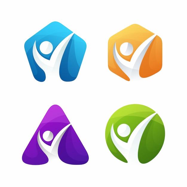 Szablon Logo Coachingu życia Premium Wektorów
