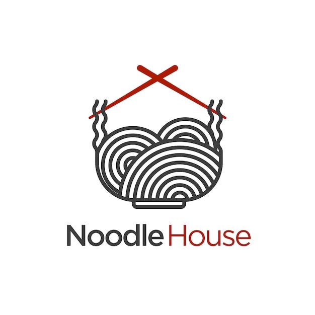 Szablon logo domu makaronu Premium Wektorów