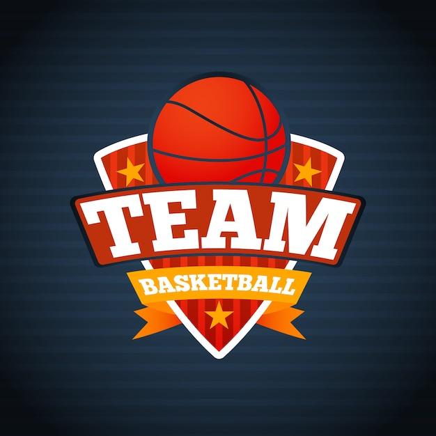 Szablon Logo Drużyny Koszykówki, Z Gwiazdkami I Wstążkami. Premium Wektorów