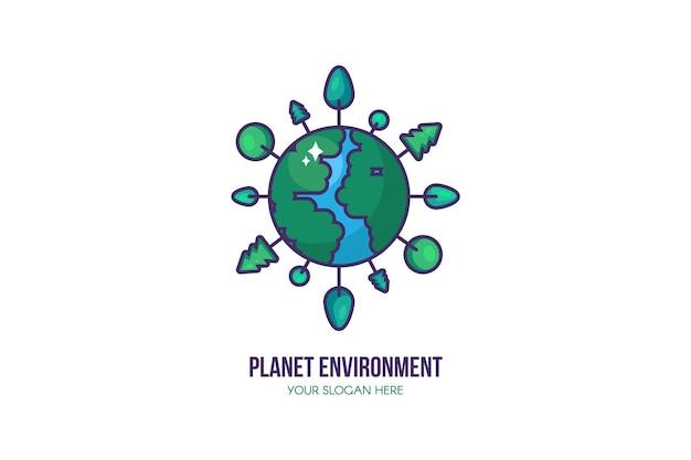 Szablon Logo Eko Planety. Znak Ochrony środowiska. Oszczędzaj Planetę, Wodę I Energię Dzięki Drzewom Rosnącym Wokół Ziemi. Zachowaj Ekologiczną I Ekologiczną Koncepcję. Ilustracja Premium Wektorów