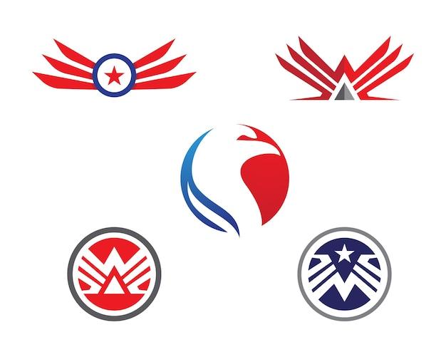 Szablon Logo Falcon Wing Premium Wektorów