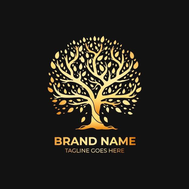 Szablon Logo Firmy Natura Drzewo Luksusowy Styl Złota Darmowych Wektorów