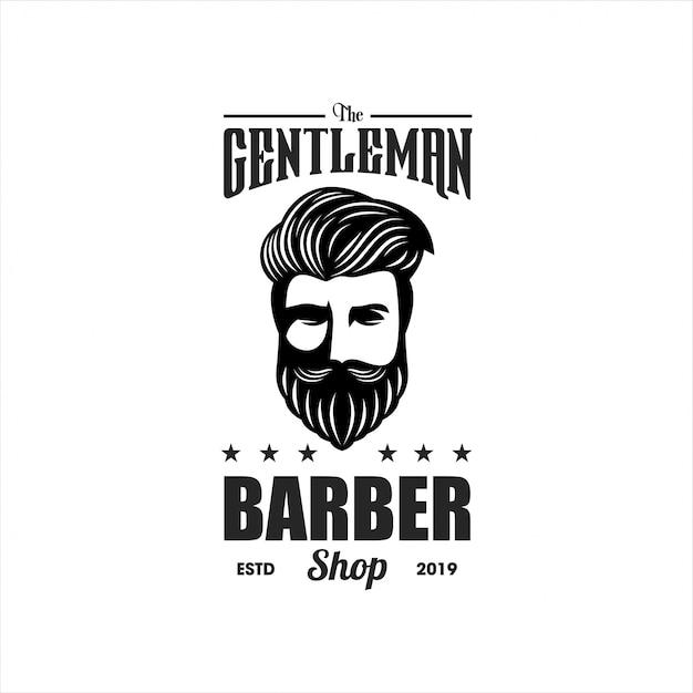 Szablon logo fryzjer panowie Premium Wektorów