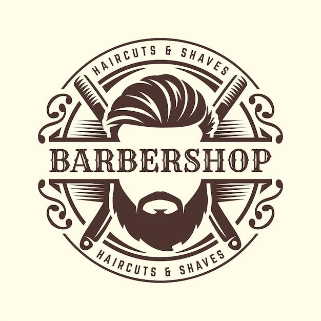 Szablon logo fryzjera Premium Wektorów