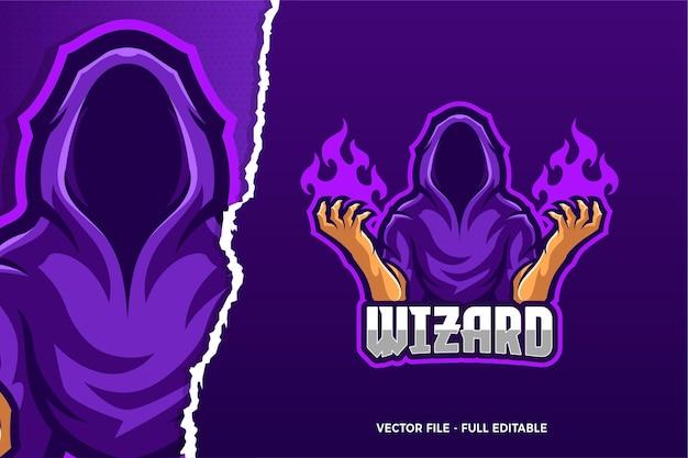 Szablon Logo Gry E-sport Cloak Wizard Premium Wektorów