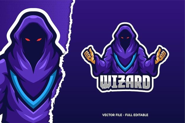 Szablon Logo Gry E-sport Wizard Demon Premium Wektorów