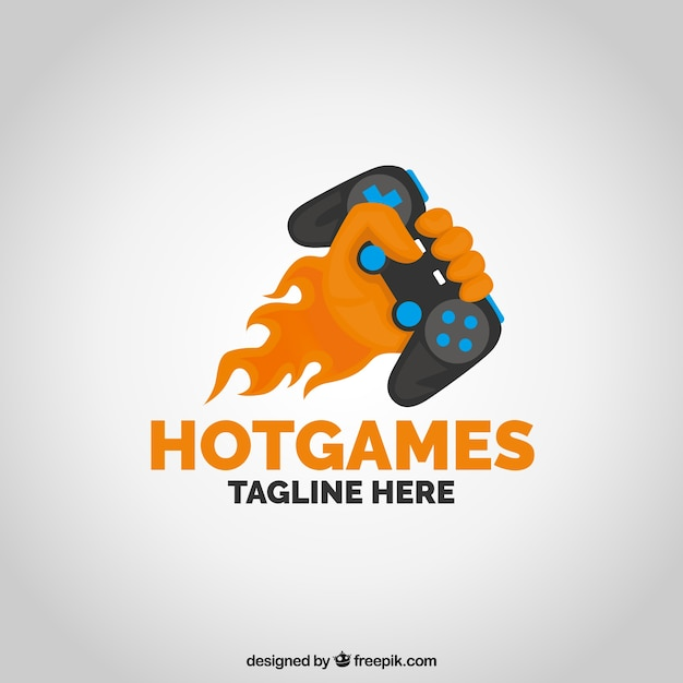 Szablon logo gry wideo z joystickiem Darmowych Wektorów