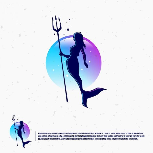 Szablon Logo Ilustracja Syrenka Premium Wektorów