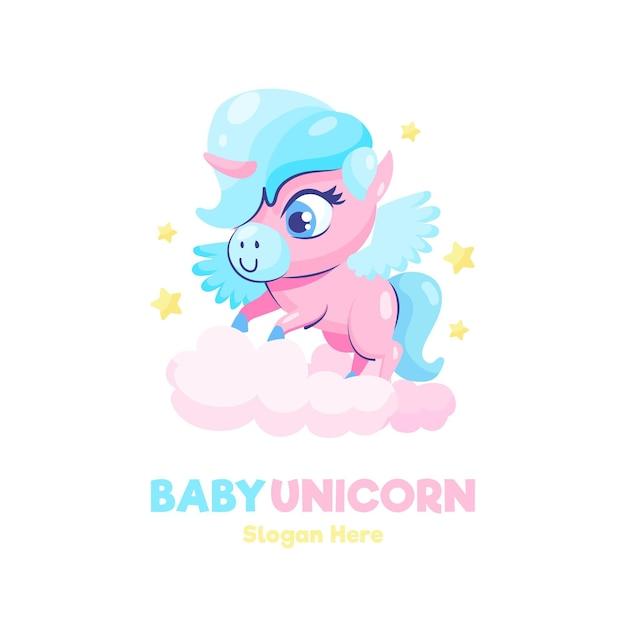 Szablon Logo Jednorożca Cute Baby Premium Wektorów