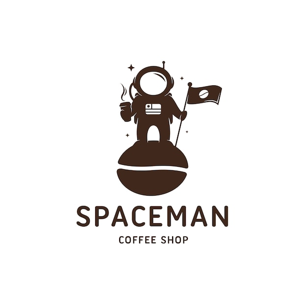 Szablon Logo Kawiarni Astronauta Premium Wektorów