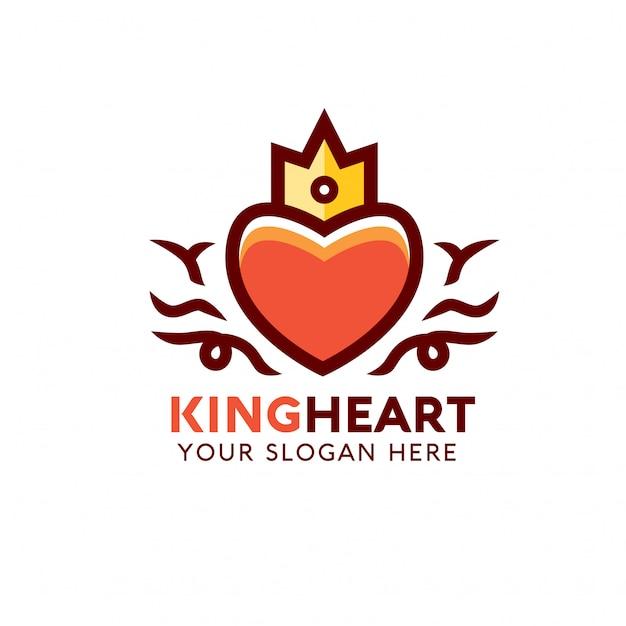 Szablon Logo King Heart Premium Wektorów