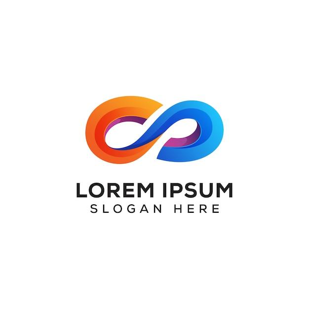 Szablon logo kolorowe nieskończoności wektor Premium Wektorów