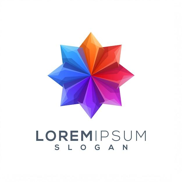 Szablon logo kolorowy lotos Premium Wektorów