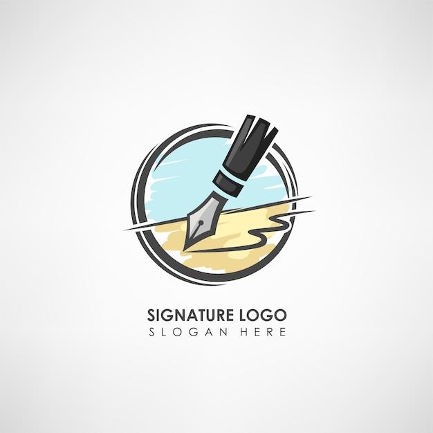 Szablon Logo Koncepcja Podpisu Z Piórem Rysunek. Premium Wektorów