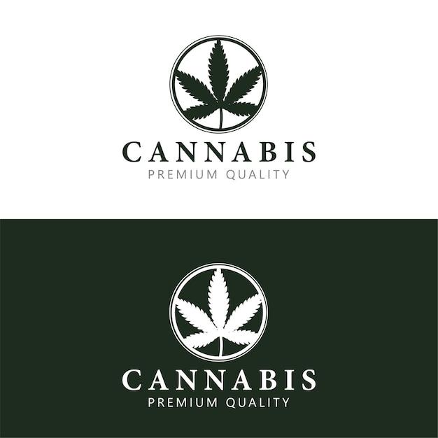Szablon Logo Konopi Z Liściem Marihuany W Kółku. Premium Wektorów
