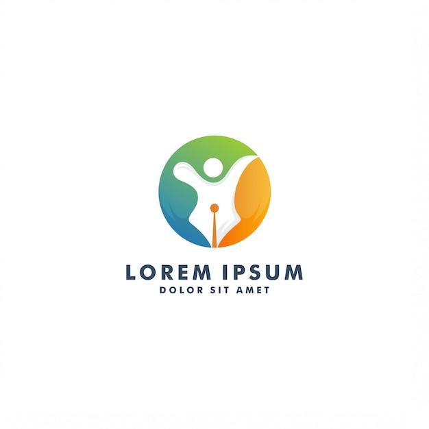 Szablon logo kreatywnego pisarza. ludzie projektu abstrakcyjne - wektor Premium Wektorów