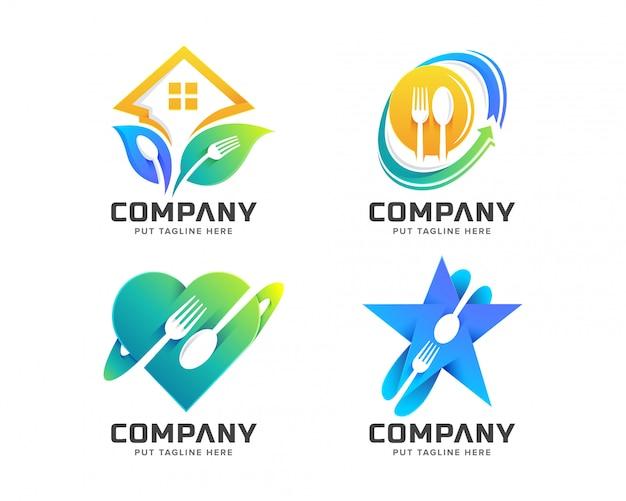 Szablon Logo Kreatywnych Widelec Premium Wektorów