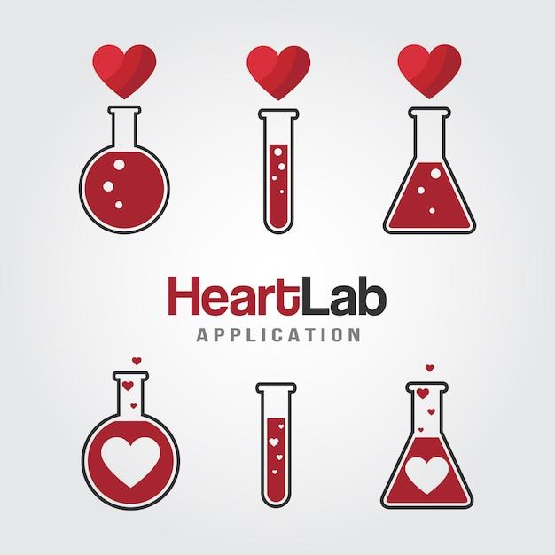 Szablon logo laboratorium miłości Premium Wektorów