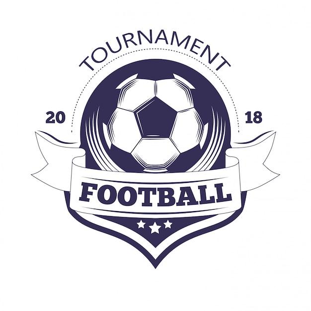Szablon logo ligi piłki nożnej lub drużyny piłkarskiej. Premium Wektorów